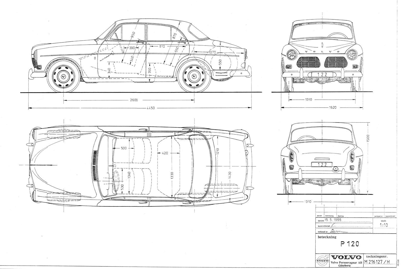 Volvo P120 esquema