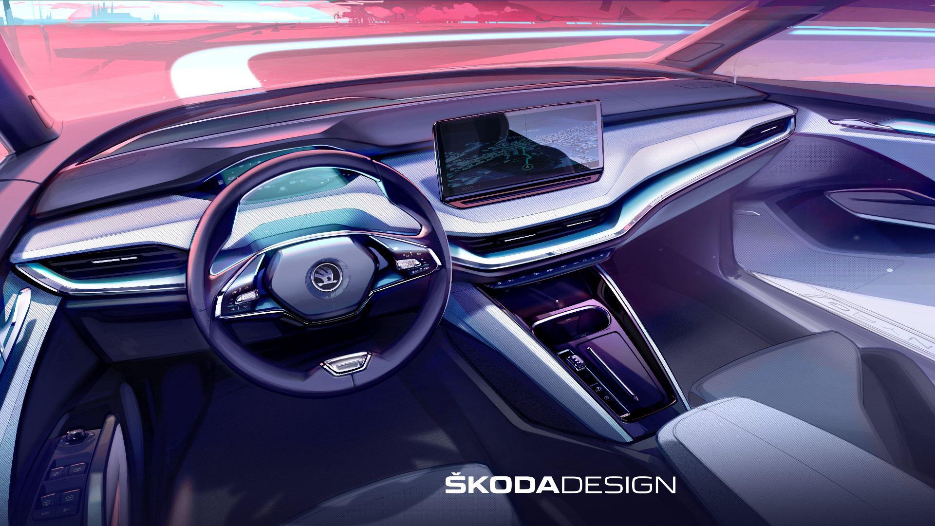 Škoda avanza detalles del interior del Enyaq iV