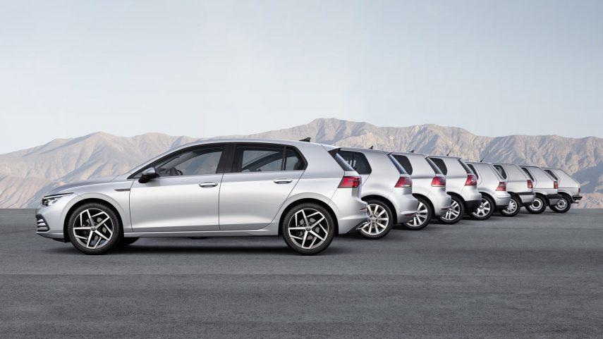Volkswagen Golf generaciones 1 a 8 laterales