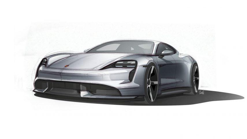 El Porsche Taycan se desvela en dos nuevos dibujos
