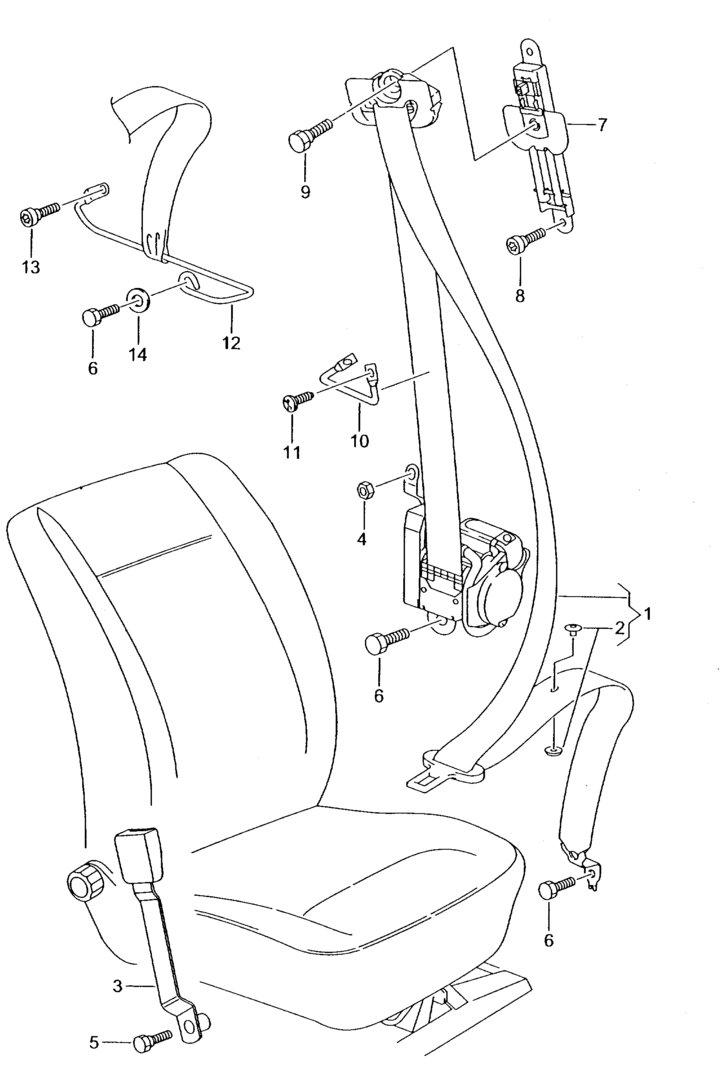 Cinturon seguridad SEAT Ibiza esquema