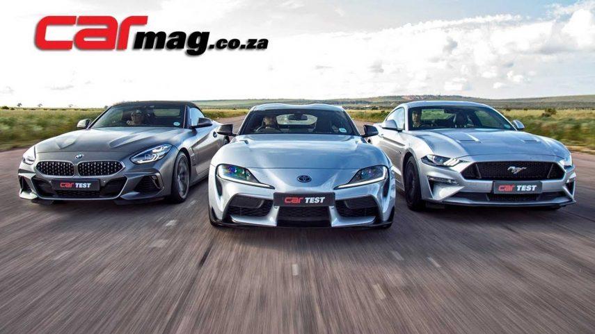 BMW Z4 vs Toyota Supra vs Ford Mustang en línea recta. ¿Quién ganará el duelo?