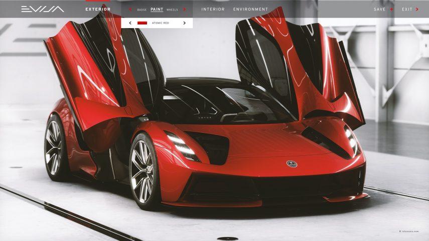 No solo el Lotus Evija resulta sorprendente, también su configurador