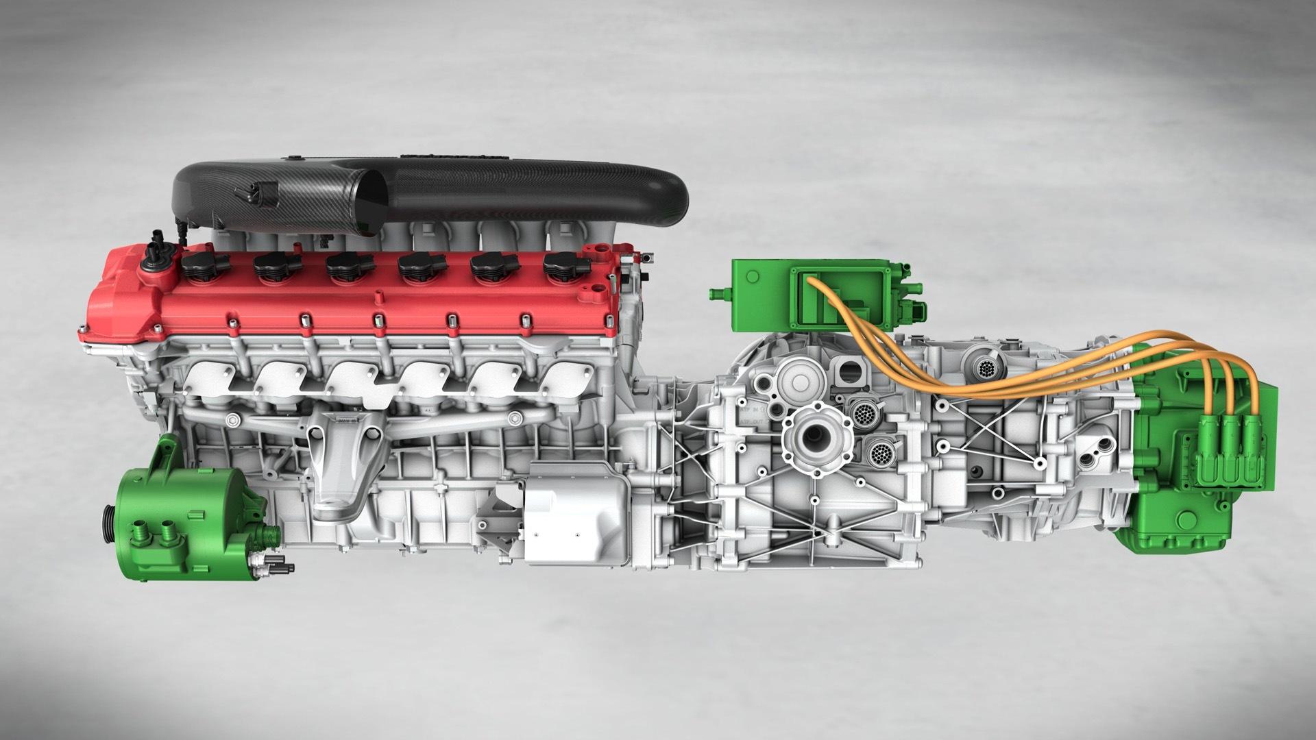 Motor Ferrari V12 con caja de cambios