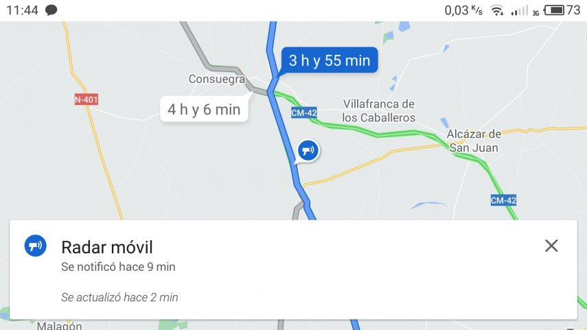Google Maps radares